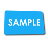 Icono plano SAMPLE en rectangulo azul con sombra