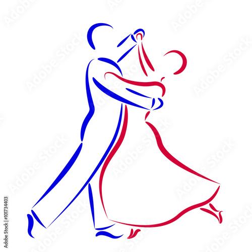 Fototapeta Dancing couple logo isolated on white background.