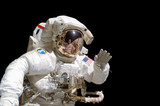 Close up of an astronaut isolated on black background - elements of this image are provided by NASA - 101735013