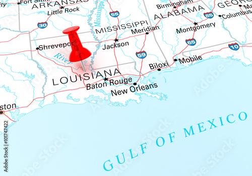 Red Thumbtack Over Louisiana State Usa Map Buy Photos Ap Images