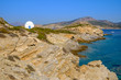 Scenic view of white chapel at beautiful ocean coastline, Greece