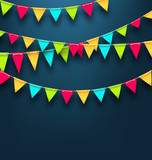 Party Dark Background with Bunting Flags for Holidays
