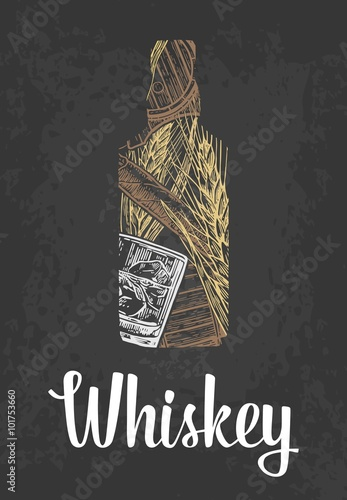 butelka-whisky-ze-szklem-kostkami-lodu-beczka-cygarem
