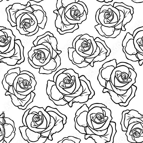 Zdjęcia na płótnie, fototapety, obrazy : Contour roses flowers pattern seamless
