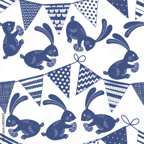Materiał do szycia Seamless pattern with buntings garlands and Easter bunnies.