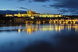 Charles Bridge and st. Vitus Cathedral at night