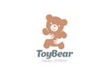 Fototapety Bear Embrace Logo design vector. Negative space icon Animal