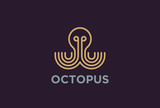 Octopus Logo design vector Linear. Luxury Seafood restaurant