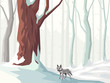 Horizontal illustration of cartoon snowy forest with wolf.