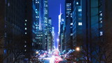 USA. New York City. Night. Skyscrapers and traffic on E42nd Street. Time lapse 4K