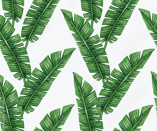 Watercolor tropical palm leaves seamless pattern. Vector illustration. - 101795621