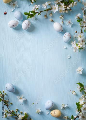 Fototapeta Easter eggs on wooden background