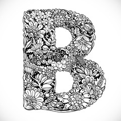 Doodles font from ornamental flowers - letter B. Black and white