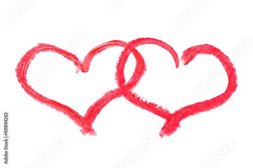 Lipstick drawing hearts © Nikolai Sorokin