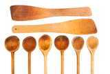 set of wooden kitchen spoon - isolated