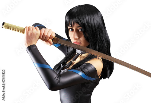 Beautiful girl with sword on white background Poster