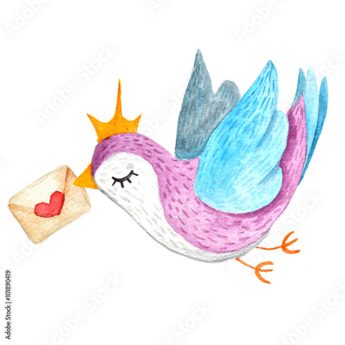 Cute little bird with love letter.Watercolor illustration. - 101890419
