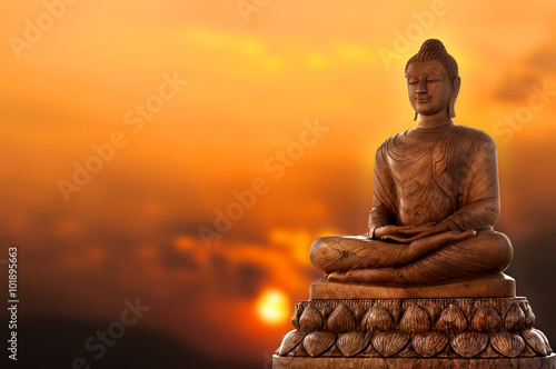 Plagát Buddha and sunset