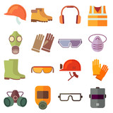 Flat job safety equipment vector icons set. Safety icon, helmet equipment, job industrial, safety headgear and protection boot illustration