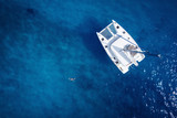 Catamaran in open sea - aerial / drone view - 101902639