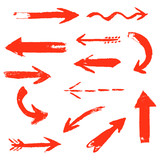 Fototapety Set of hand drawing comic red arrows. Colorful hand painting design elements. Vector collection on white background.