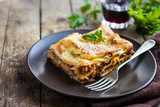Fototapety  traditional italian lasagna  with minced beef bolognese sauce
