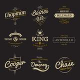 Fototapety Vector vintage labels. Templates Set for banner, insignias, business brand logo design.