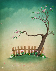 Beautiful spring illustration with mailbox for greeting card or background Easter.