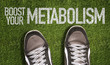 """Detaily fotografie christmas background 101931842,Top View of Sneakers on the grass with the text: Boost Your Metabolism"""""""