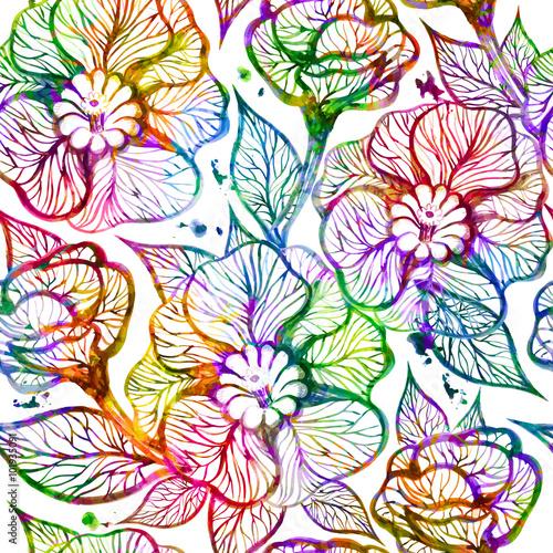Fototapeta Abstract bright floral seamless pattern. Vector illustration, EPS 10
