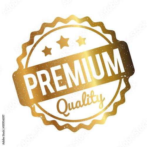 Premium Quality rubber stamp gold on a white background. © AllebaziB