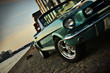 Постер, плакат: Shelby Replica of the Mustang 350 in the setting sun