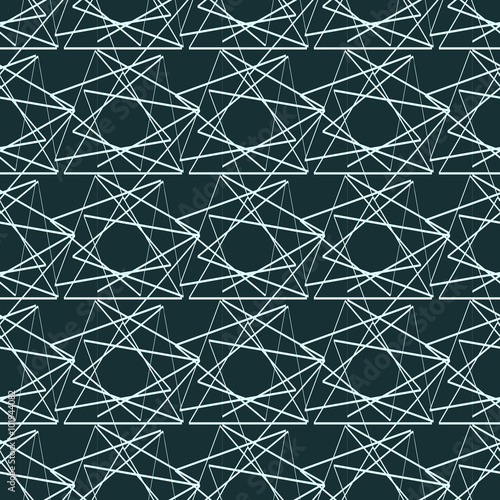 Seamless vector illustration with triangles on aqua background. - 101944082