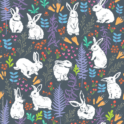 Materiał do szycia Floral pattern with white bunnies