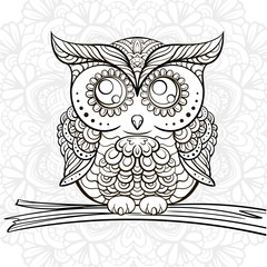 Hand drawn owl doodle