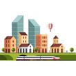 Cityscape. Urban landscape and city life. Vector illustration.