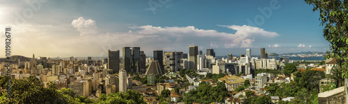 Rio De Janeiro Downtown panorama with light leak , Brazil