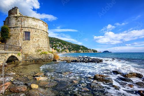 Historical Saracen tower in Alassio, resort town on Riviera, Ita Poster