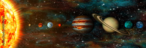 Solar System, planets in a row, ultrawide
