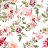 Fototapety Seamless pattern with orchid flowers, roses, peony and leaves.