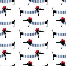 Francuski styl pies szwu. Cute cartoon paryski jamnik ilustracji wektorowych. Dzieci rysunek styl szczenię tła. Francuski styl ubrany pies z czerwonym berecie i pasiastą sukienkę.