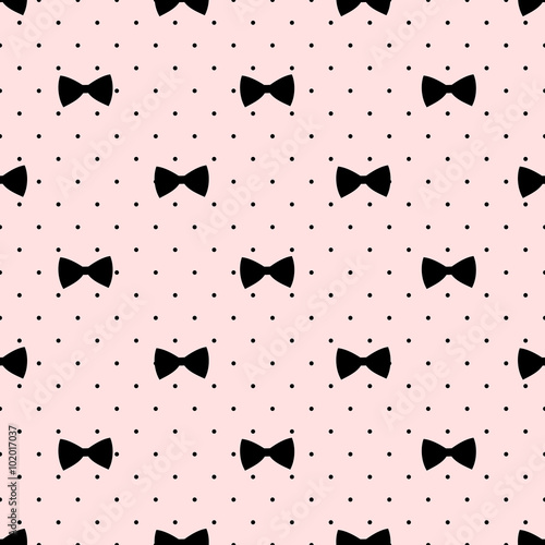 Materiał do szycia Seamless bow pattern on polka dots background. Cute fashion illustration. Decorative baby shower background.
