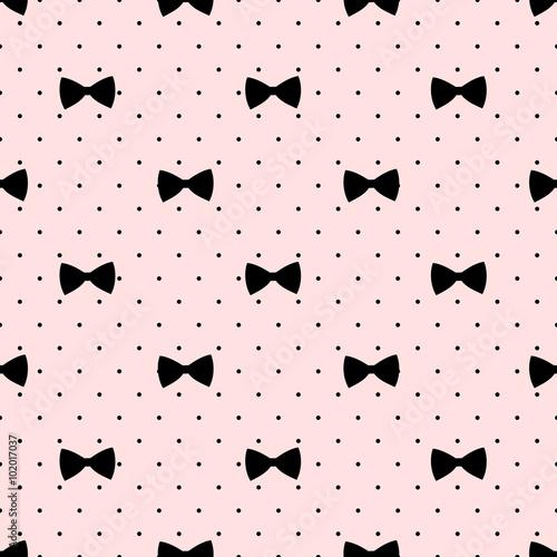 Stoffe zum Nähen Nahtlose Bogen Muster auf Polka Dots Hintergrund. Niedliche Mode-Illustration. Dekorative Baby-Dusche-Hintergrund.