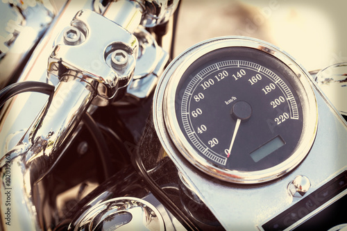 Poster Motorcycle detail with mirror, speedometer and handlebar