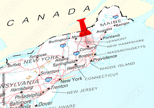 Red Thumbtack Over New Hampshire State Usa Map Buy Photos Ap