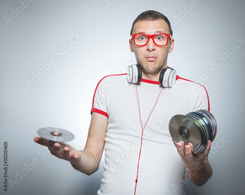 Funny dj over gray background Poster