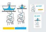Сантехника. Сервис. Водопровод. Трубы. Логотип и визитка.