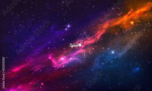 Colorful Nebula in Space. Vector background