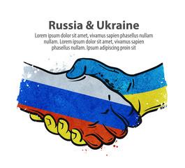 handshake. Russia and Ukraine. vector illustration © ~ Bitter ~