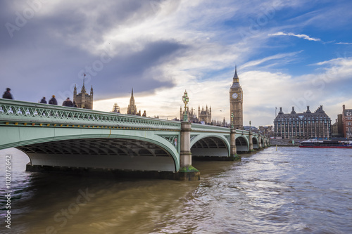 Fototapeta Westminster Bridge, Houses of Parliament and Big Ben with beautiful sky at sunset - London, UK